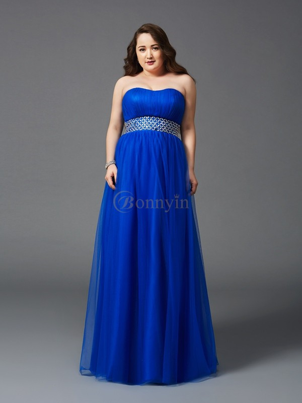 Royal Blue Net Strapless A-Line/Princess Floor-Length Prom Dresses
