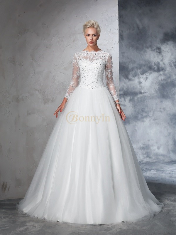 Ivory Net Bateau Ball Gown Sweep/Brush Train Wedding Dresses