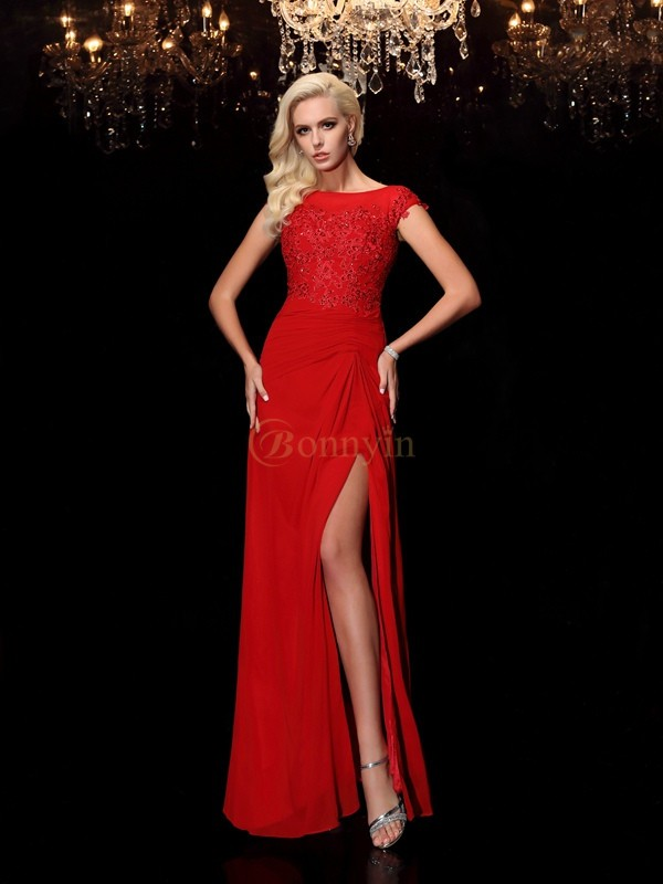Red Chiffon Bateau Sheath/Column Floor-Length Mother of the Bride Dresses