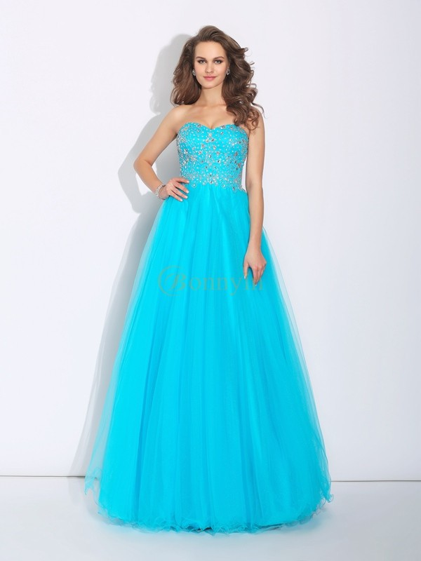 Blue Satin Sweetheart A-Line/Princess Floor-Length Prom Dresses