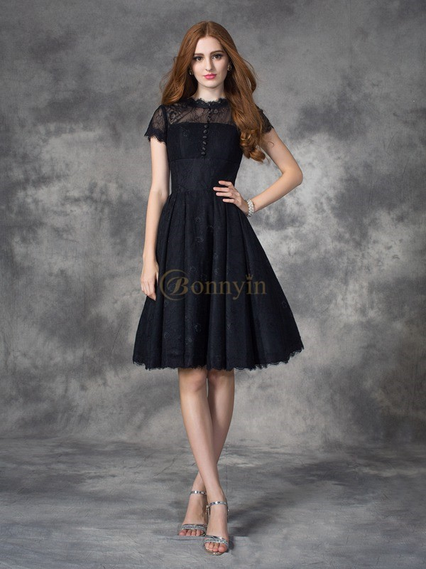 Black Lace Jewel A-line/Princess Knee-Length Prom Dresses