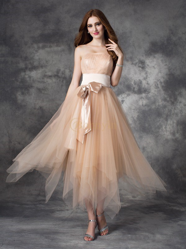 Champagne Elastic Woven Satin Strapless A-line/Princess Ankle-Length Prom Dresses