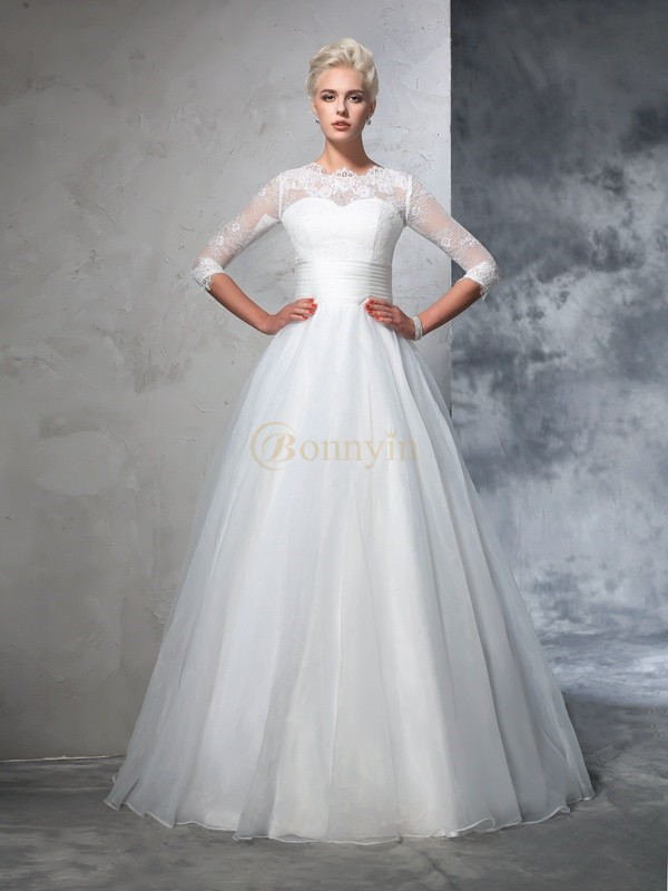 Ivory Organza Jewel Ball Gown Floor-Length Wedding Dresses