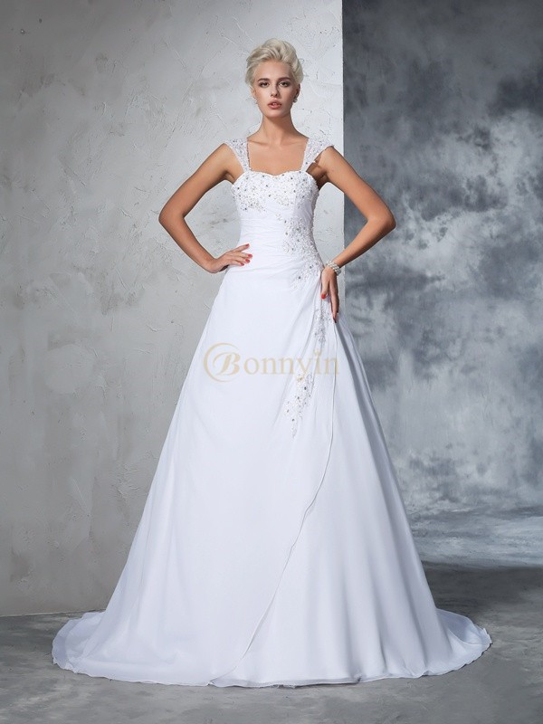 White Chiffon Straps Ball Gown Court Train Wedding Dresses
