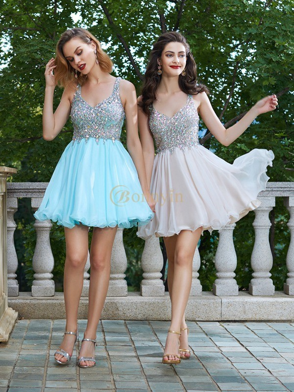 Chiffon Straps A-Line/Princess Short/Mini Homecoming Dresses