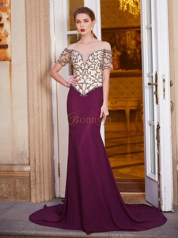 Burgundy Chiffon Sheer Neck Sheath/Column Court Train Dresses