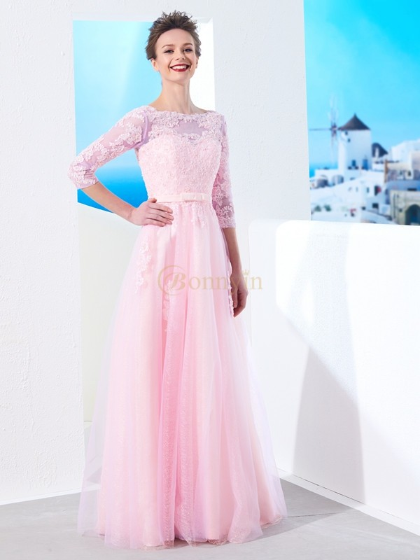 Pink Tulle Bateau A-Line/Princess Floor-Length Dresses