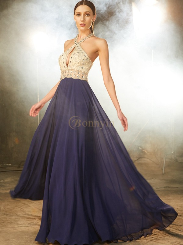 Dark Navy Chiffon Straps A-Line/Princess Floor-Length Prom Dresses