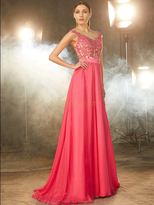 Watermelon Chiffon Sheer Neck A-Line/Princess Sweep/Brush Train Prom Dresses