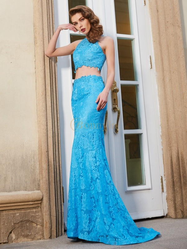 Blue Lace Scoop Sheath/Column Sweep/Brush Train Prom Dresses