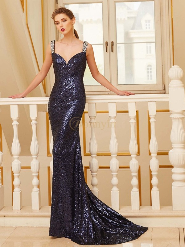 Dark Navy Sequins V-neck Sheath/Column Sweep/Brush Train Prom Dresses