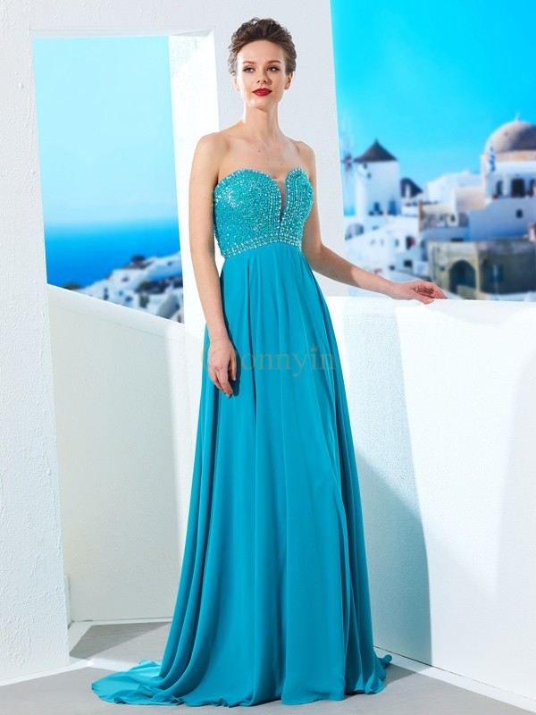 Blue Chiffon Sweetheart A-Line/Princess Sweep/Brush Train Prom Dresses