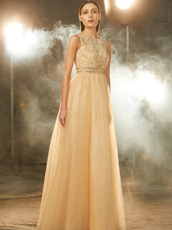 Champagne Tulle Scoop A-Line/Princess Floor-Length Prom Dresses