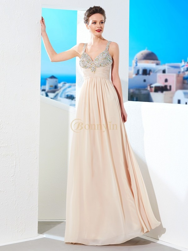 Champagne Chiffon Spaghetti Straps A-Line/Princess Floor-Length Prom Dresses