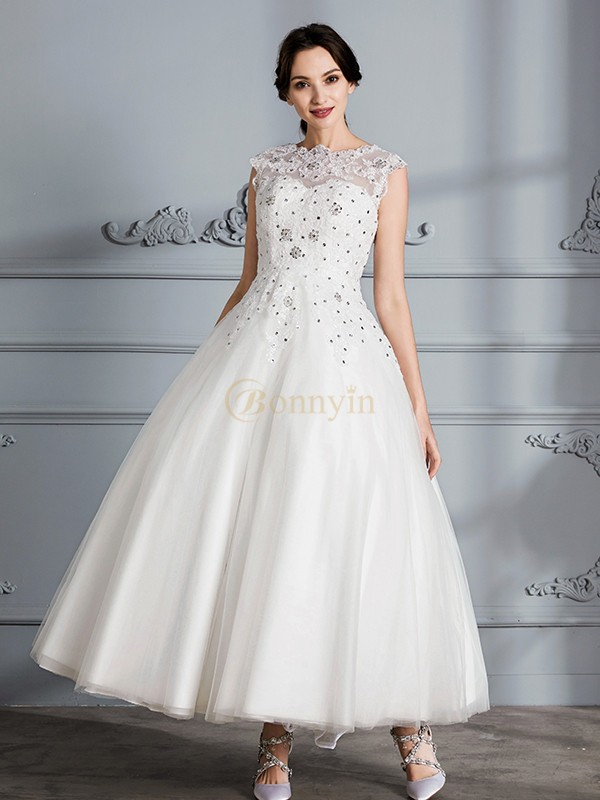 Ivory Tulle Scoop Ball Gown Tea-Length Wedding Dresses
