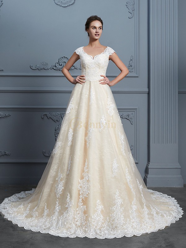 Champagne Lace Sweetheart Ball Gown Court Train Wedding Dresses