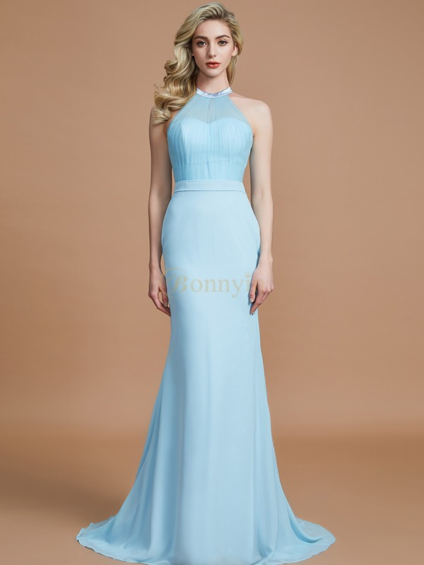 Light Sky Blue Chiffon Scoop Trumpet/Mermaid Sweep/Brush Train Bridesmaid Dresses