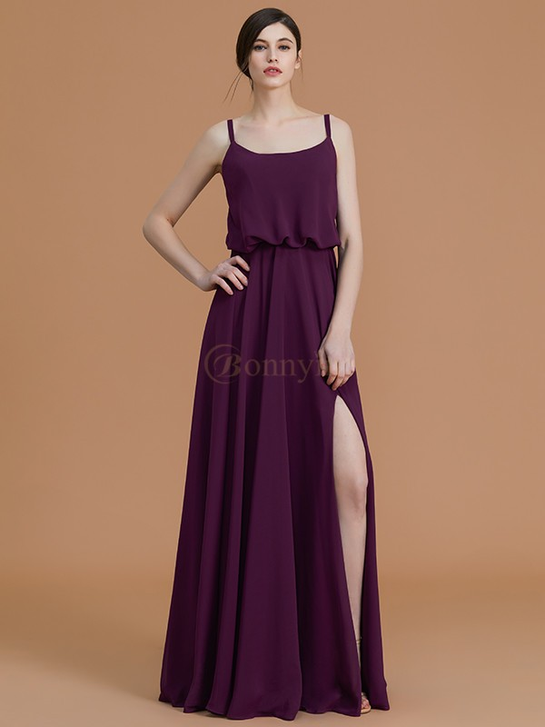 Grape Chiffon Spaghetti Straps A-Line/Princess Floor-Length Bridesmaid Dresses