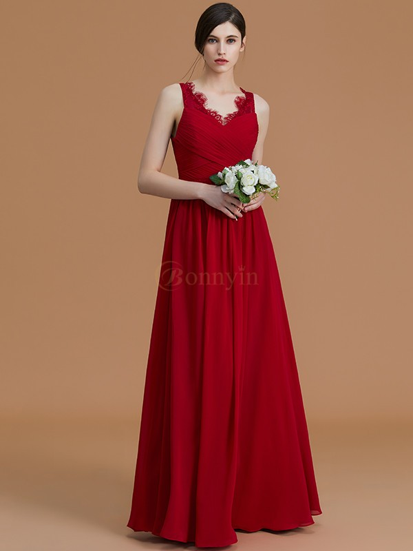 Burgundy Chiffon V-neck A-Line/Princess Floor-Length Bridesmaid Dresses