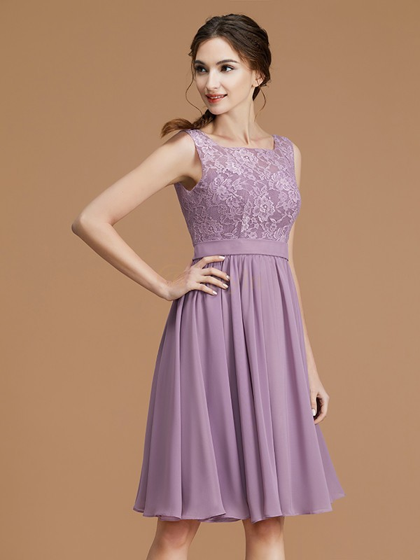 Lilac Chiffon Bateau A-Line/Princess Short/Mini Bridesmaid Dresses