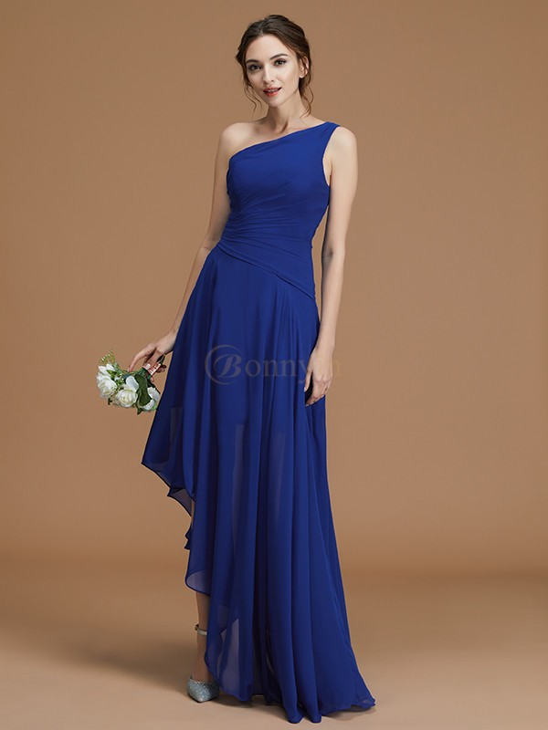 Royal Blue Chiffon One-Shoulder A-Line/Princess Asymmetrical Bridesmaid Dresses