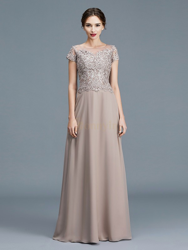 Grey Chiffon Scoop A-Line/Princess Floor-Length Mother of the Bride Dresses