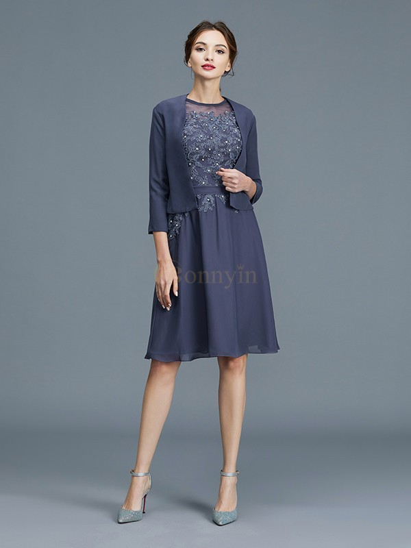 Grey Chiffon Scoop A-Line/Princess Knee-Length Mother of the Bride Dresses