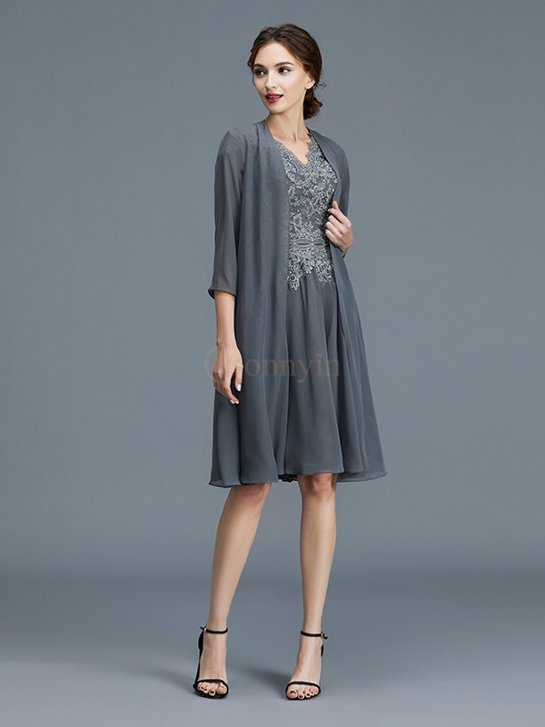 Grey Chiffon V-neck A-Line/Princess Knee-Length Mother of the Bride Dresses