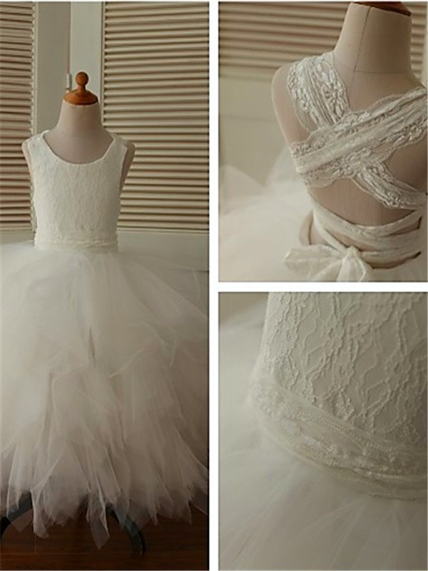 White Organza Scoop Ball Gown Ankle-Length Flower Girl Dresses