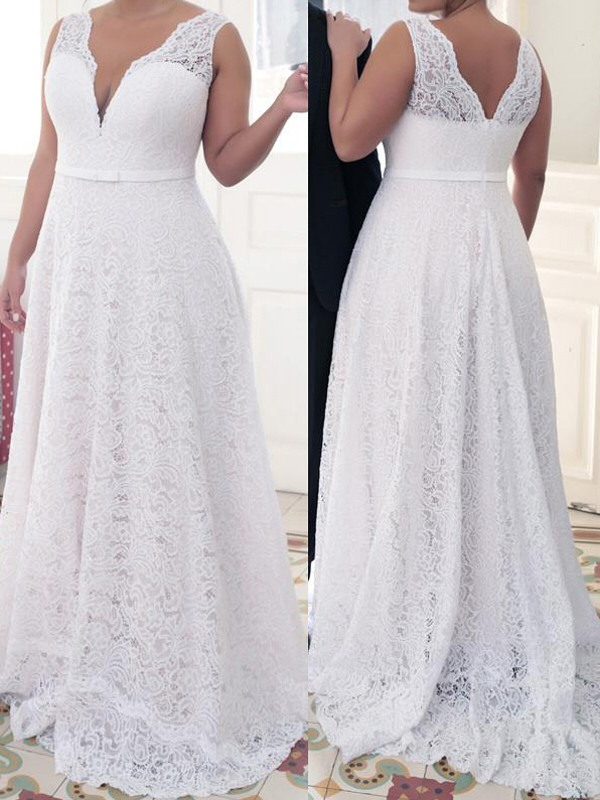 White Lace V-neck A-Line/Princess Sweep/Brush Train Plus Size Dresses