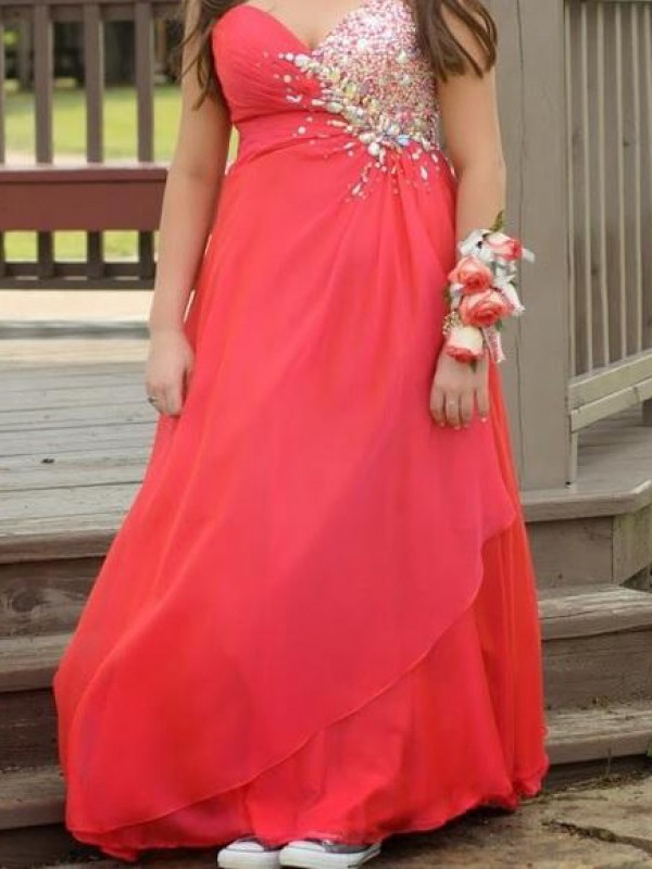 Red Chiffon Sweetheart A-Line/Princess Floor-Length Plus Size Dresses
