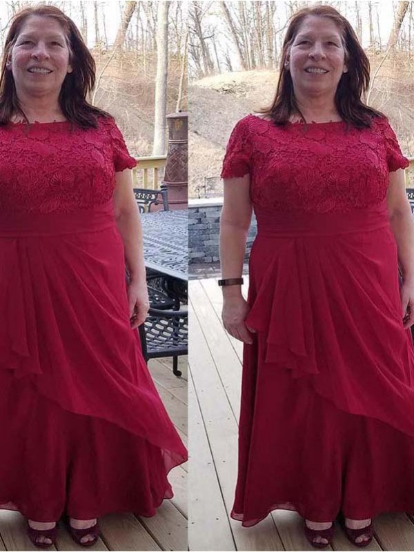 Red Chiffon Scoop A-Line/Princess Floor-Length Mother of the Bride Dresses