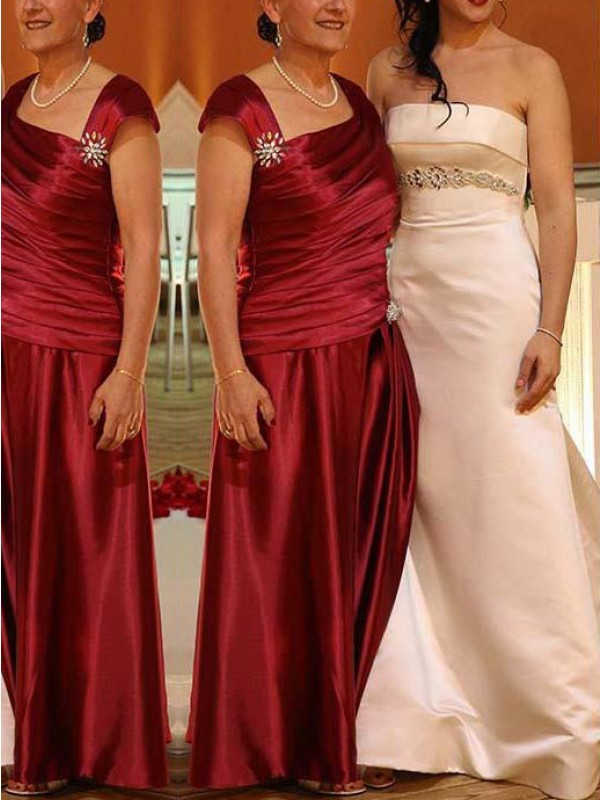 Red Satin Straps Sheath/Column Floor-Length Mother of the Bride Dresses