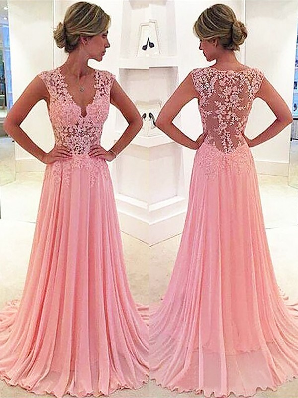 Pink Chiffon V-neck A-Line/Princess Sweep/Brush Train Prom Dresses