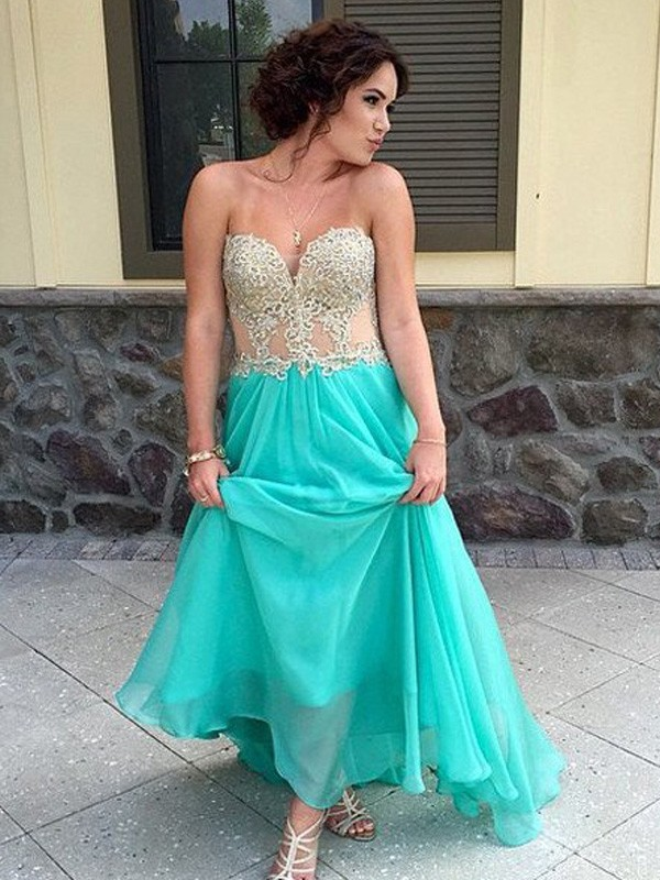 Green Chiffon Sweetheart A-Line/Princess Floor-Length Prom Dresses