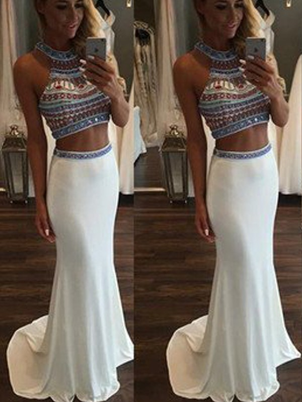 White Chiffon Halter Trumpet/Mermaid Sweep/Brush Train Prom Dresses