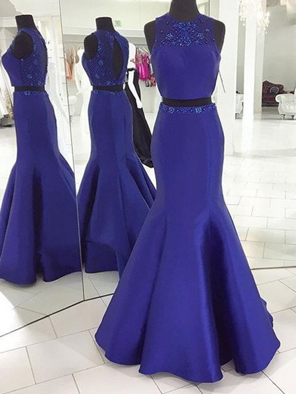 Royal Blue Satin Scoop Trumpet/Mermaid Floor-Length Prom Dresses