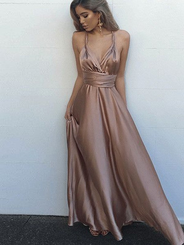 Brown Silk like Satin Spaghetti Straps A-Line/Princess Floor-Length Prom Dresses