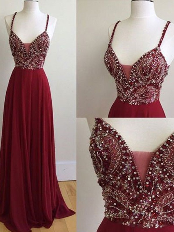 Red Chiffon Spaghetti Straps A-Line/Princess Floor-Length Prom Dresses