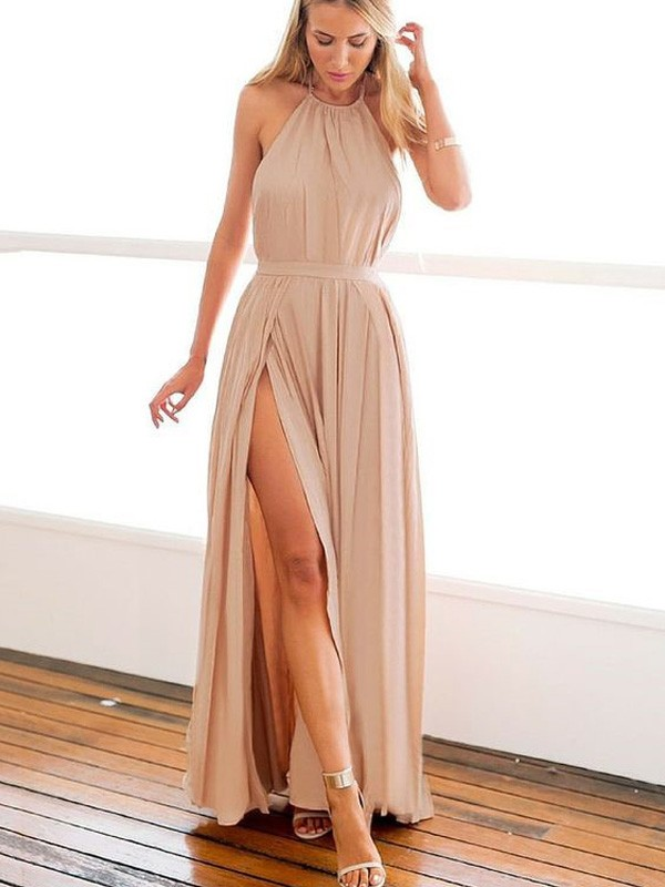 Champagne Chiffon Halter A-Line/Princess Floor-Length Prom Dresses
