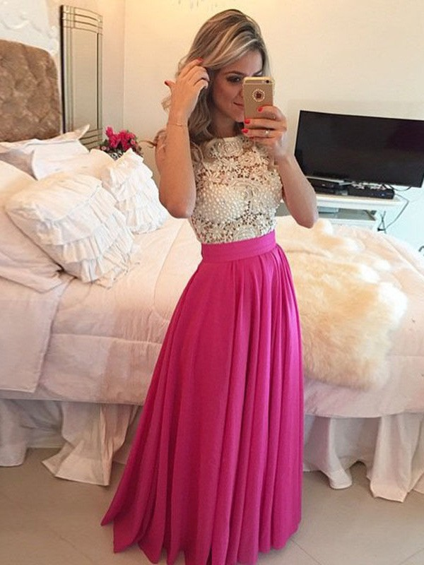Watermelon Chiffon Scoop A-Line/Princess Floor-Length Prom Dresses