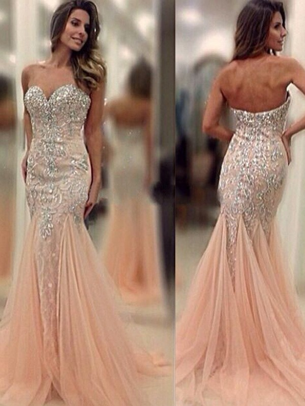 Pearl Pink Tulle Sweetheart Trumpet/Mermaid Sweep/Brush Train Prom Dresses