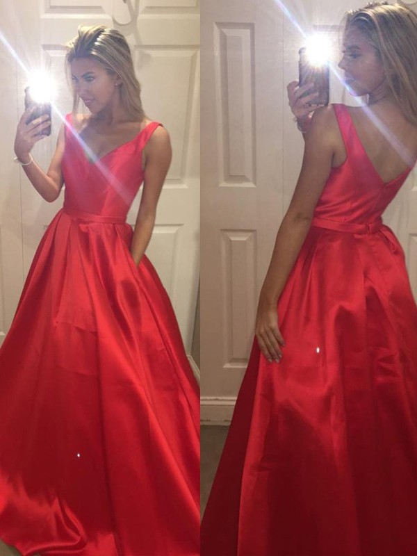 Red Satin V-Neck A-Line/Princess Sweep/Brush Train Prom Dresses