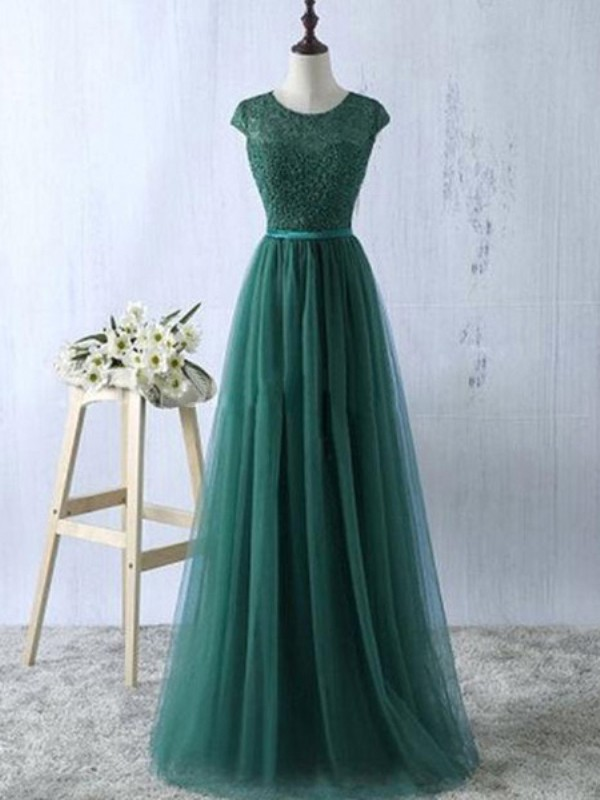 Green Tulle Scoop A-Line/Princess Floor-Length Prom Dresses