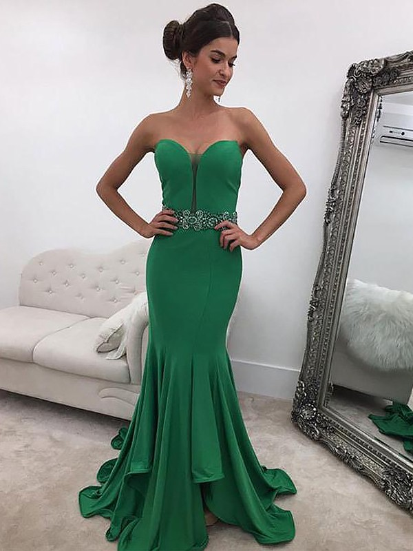 Dark Green Satin Sweetheart Trumpet/Mermaid Sweep/Brush Train Dresses