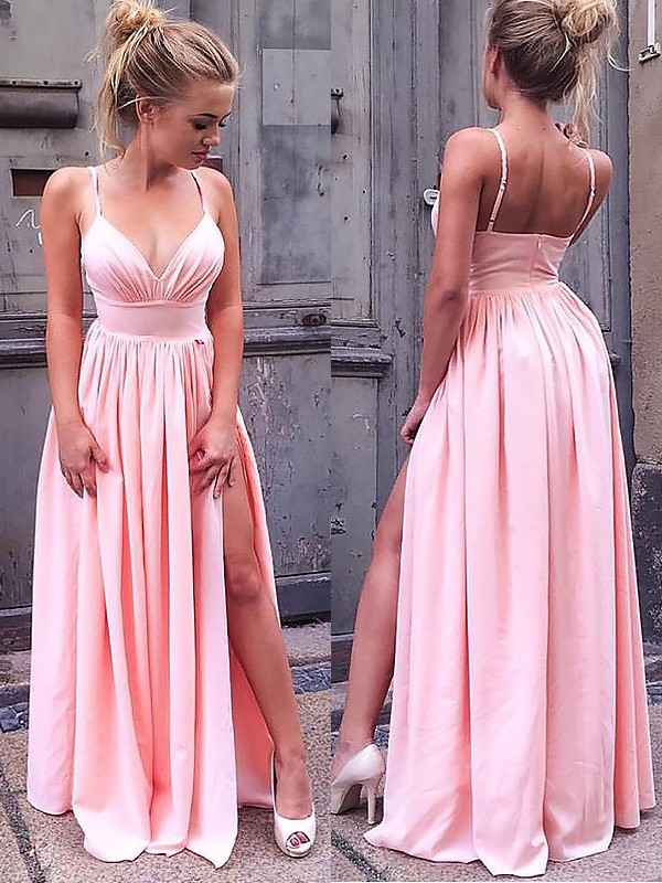 Pink Chiffon Straps A-Line/Princess Floor-Length Dresses