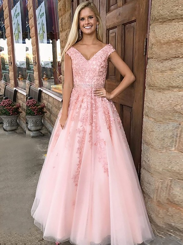 Pink Tulle V-Neck A-Line/Princess Floor-Length Dresses
