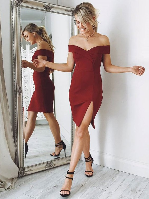 Burgundy Satin Off-the-Shoulder Sheath/Column Short/Mini Dresses
