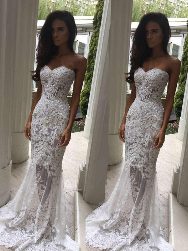 White Lace Sweetheart Trumpet/Mermaid Court Train Wedding Dresses