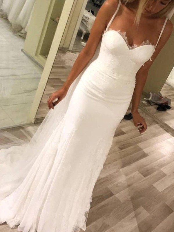 Ivory Satin Sweetheart Sheath/Column Sweep/Brush Train Wedding Dresses